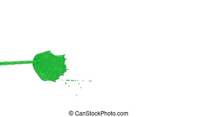 Flow of green paint splattering on white background and dripping down over white. 3d render with alpha mask for background, transition or overlays. Version 1
