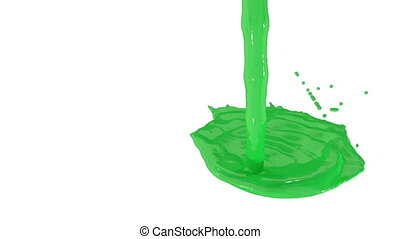 Flow of green paint splattering on white background and dripping down over white. 3d render with alpha mask for background, transition or overlays. Version 3