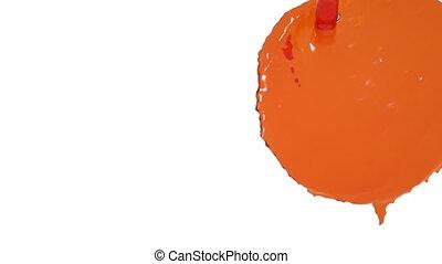 flow of orange fluid fills screen in slow motion. nectar