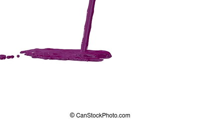 Flow of purple paint splattering on white background and dripping down over white. 3d render with alpha mask for background, transition or overlays. Version 9