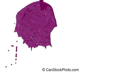 Flow of purple paint splattering on white background and dripping down over white. 3d render with alpha mask for background, transition or overlays. Version 13