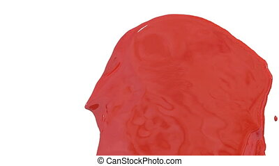 Flow of red paint splattering on white background and dripping down over white. 3d render with alpha mask for background, transition or overlays. Version 5