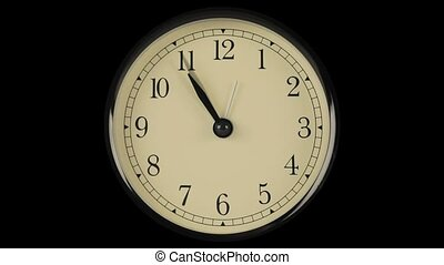 Flow of time demonstrated on clock with fast moving hands