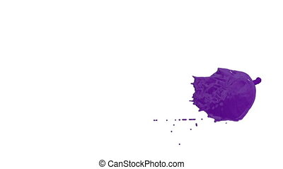 Flow of violet paint splattering on white background and dripping down over white. 3d render with alpha mask for background, transition or overlays. Version 1