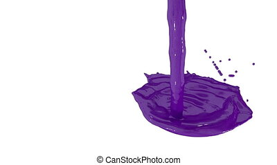 Flow of violet paint splattering on white background and dripping down over white. 3d render with alpha mask for background, transition or overlays. Version 4