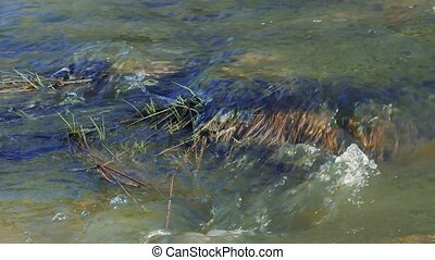 flow of water in the river close-up