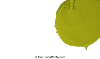 flow of yellow fluid fills the screen. Colored paint - flow...
