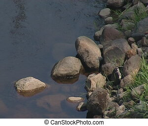 flow river stony coast - Flowing river water and stony coast...