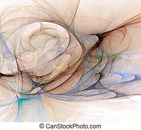 Flow - Blue, black, and brown abstract fractal design of...