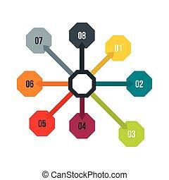 Flowchart diagram, scheme icon, flat style