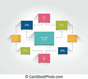Flowchart. Infographics  scheme. Color connected text field.