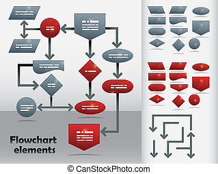 Flowchart Template - Flowchart elements in two colors and...