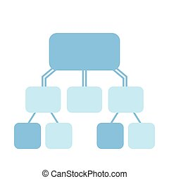 flowchart vector template, blue on white
