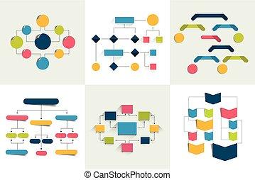 flowcharts., jogo, de, 6, fluência traça, esquemas,...