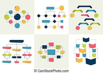 Flowcharts. Set of 6 flow charts schemes, diagrams. Simply ...