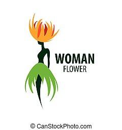 flower., イラスト, 形, ベクトル, ロゴ, 女の子