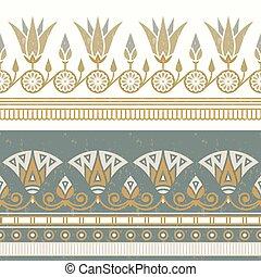 flower., エジプト人, 国民, 装飾, seamless, イラスト, ベクトル, 白