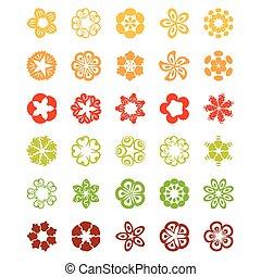 flower., セット, アイコン, ベクトル, 平ら