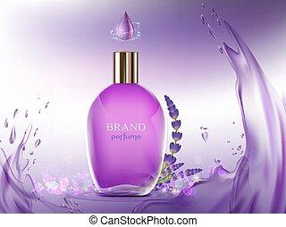 flower., ラベンダー, 香水, ガラス, bottle., 香り