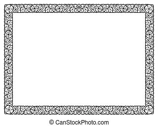 flower abstract black frame isolated