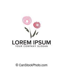 Flower Abstract logo design concept template.