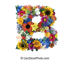 Letter B made of flowers isolated on white background