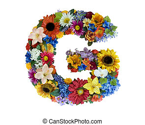 Flower Alphabet - G - Letter G made of flowers isolated on...