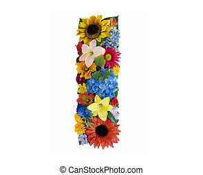 Flower Alphabet - I - Letter I made of flowers isolated on...