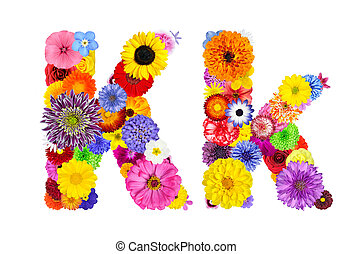 Flower Alphabet Isolated on White - Letter K