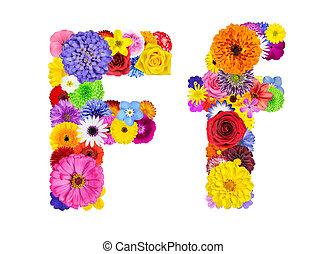 Flower Alphabet Isolated on White - Letter F