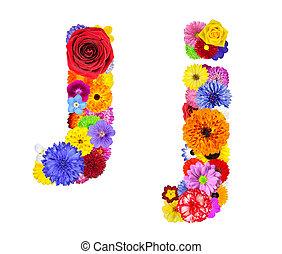 Flower Alphabet Isolated on White - Letter J