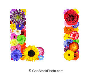 Flower Alphabet Isolated on White - Letter L