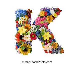 Flower Alphabet - K - Letter K made of flowers isolated on...