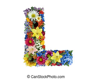Flower Alphabet - L - Letter L made of flowers isolated on...