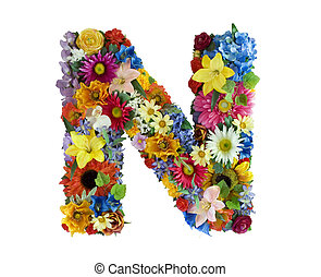 Letter N made of flowers isolated on white background