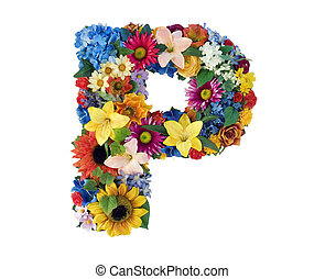 Flower Alphabet - P - Letter P made of flowers isolated on...