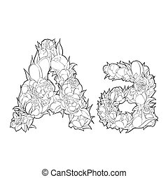 Flower alphabet. The letter A - Black and white alphabet...