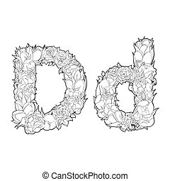 Flower alphabet. The letter D - Black and white alphabet...