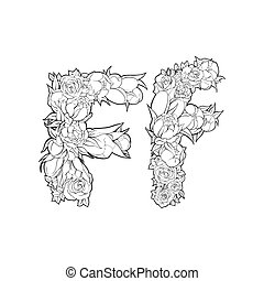 Flower alphabet. The letter F - Black and white alphabet...
