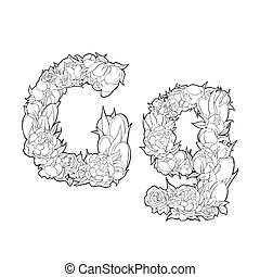 Flower alphabet. The letter G - Black and white alphabet...