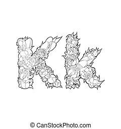 Flower alphabet. The letter K - Black and white alphabet...