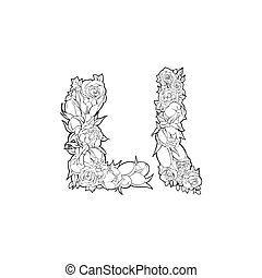 Flower alphabet. The letter L - Black and white alphabet...