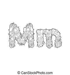 Flower alphabet. The letter M - Black and white alphabet...