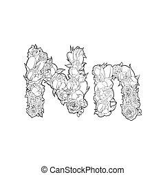 Flower alphabet. The letter N - Black and white alphabet...