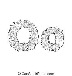 Flower alphabet. The letter O - Black and white alphabet ...