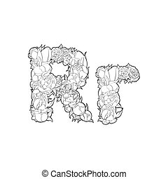 Flower alphabet. The letter R - Black and white alphabet...