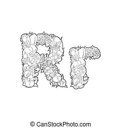 Flower alphabet. The letter R - Black and white alphabet...