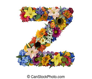 Letter Z made of flowers isolated on white background