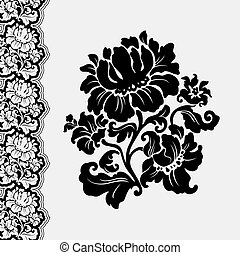 flower and border lace, design element, vector