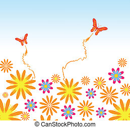 Flower and butterflies background